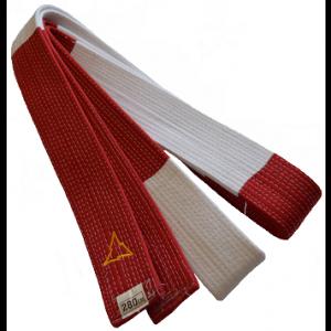 Rood-witte judoband voor 6e dan | wit uiteinde | maat 320